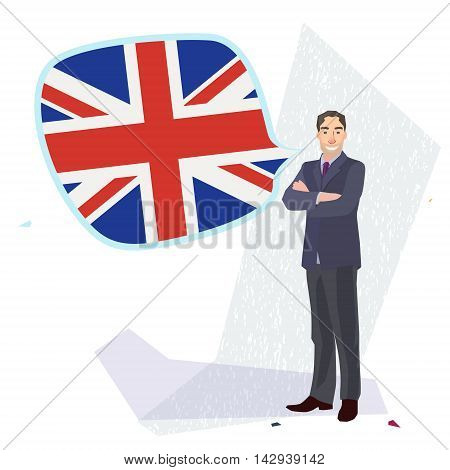 figure of a man standing with english flag speech bubble