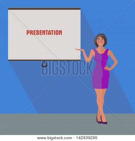 standing business woman showing a plackard, stylised conceptual illustration