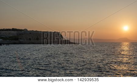 Rethymno, Crete, Greece: the Fortezza in the beautiul sunset