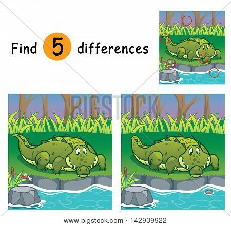 Vector Illustration of Game for children find differences - Crocodile
