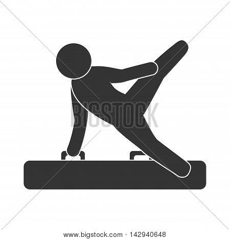 gymnast aerobic acrobatic training sport athlete silhouettte vector illustration isolated