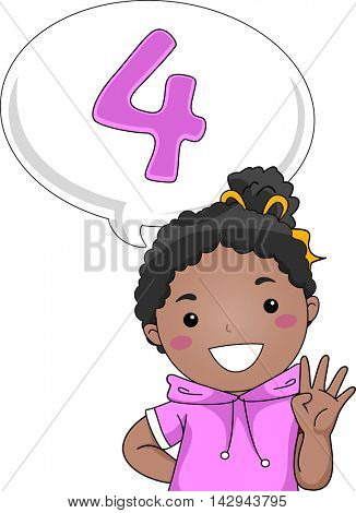 Illustration of a Little Girl Gesturing the Number 4