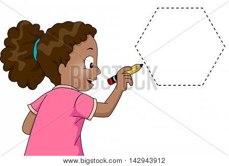 Illustration of a Little Girl Drawing a Hexagon