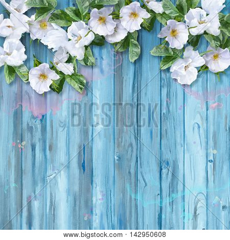 Floral watercolor white summer flowers on wooden background