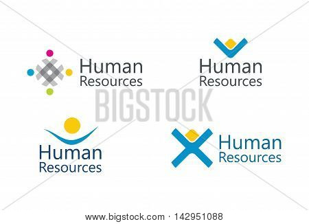 Human resource concept - abstract sign set