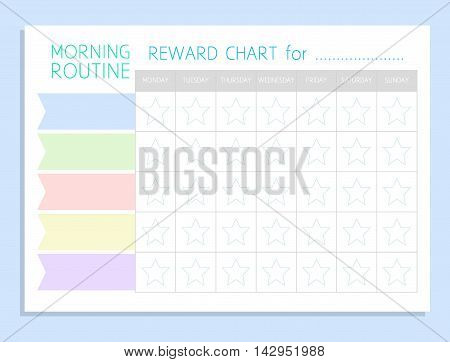 Daily Morning Routine. Sticker Rewards Chart. Vector Blank A4
