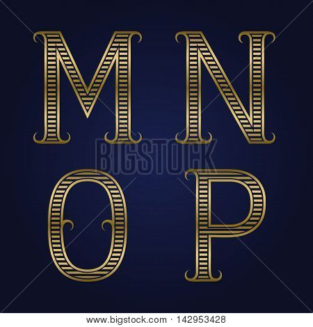 M N O P golden ribbed letters with flourishes. Horizontal stripes vintage font.