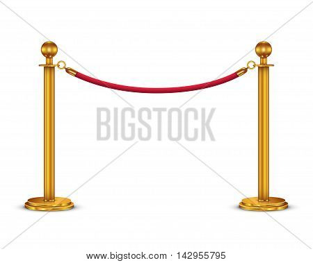 Golden barricade with red rope isolated on white background, vector