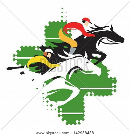 Colorful stylized illustration of  horse racing. Vector available.