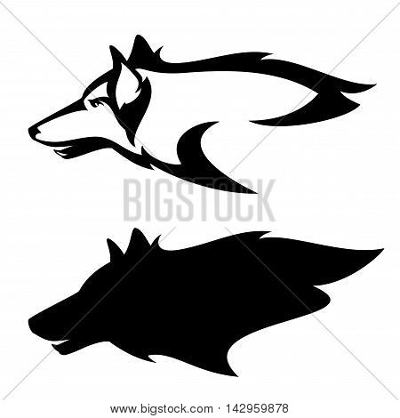 wolf head profile design - side view black and white vector mascot
