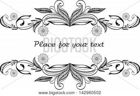 Floral background with decorative branch. Hand drawn.
