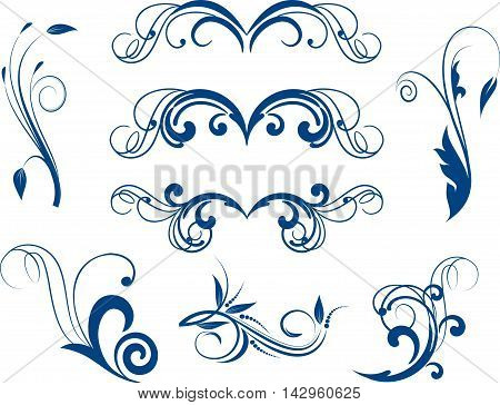 Set of decorative calligraphic elements for design