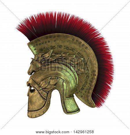 3D Rendering Ancient Greek Helmet On White