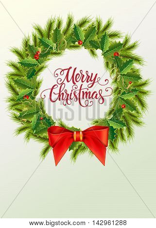 Merry Christmas lettering. Christmas greeting card with fir tree branches, mistletoe leaves and berries around lettering. Handwritten text, calligraphy. For greeting cards, posters, leaflets.