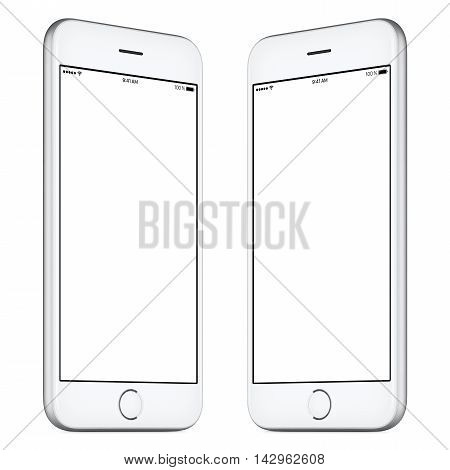 White mobile smartphone mockup. This mockup includes both sides of slightly rotated white smartphone with blank template screen. You can use this mockup for portfolio or design presentation.