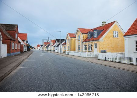 View of the small Danish town street