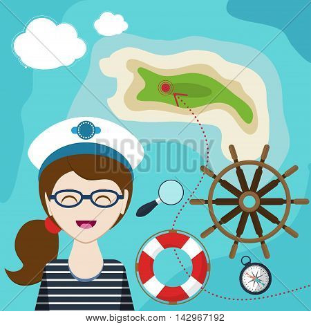 Map With A Sailor, Lifeline, Steering Wheel, Compass And Magnifier On Background  Sea. Child Game. H