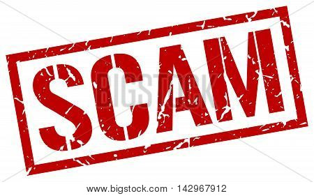 scam stamp. red grunge square isolated sign