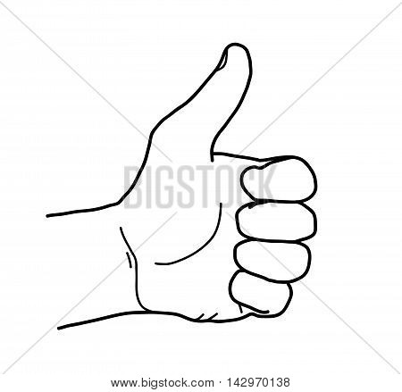 Thumbs Up Sketch Doodle. A hand drawn vector illustration of a thumbs up.