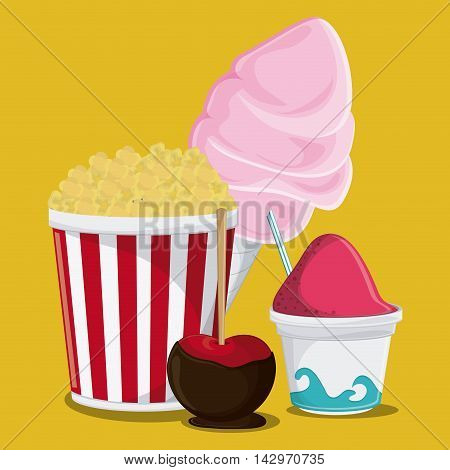 pop corn ice cream apple cotton candy fair food snack carnival festival icon. Colorful design. Vector illustration