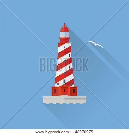 Flat design long shadow White Shoal lighthouse icon on blue background