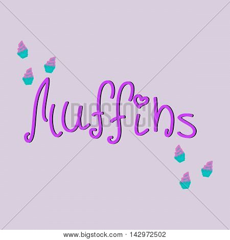 Stylish typographic poster design with inscription muffins. Pixel muffins. Vector illustration