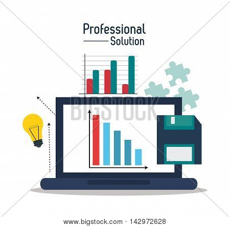 laptop bulb diskette professional solution technology icon. Colorful design. Vector illustration
