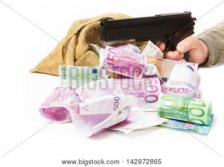 bank note sack pistol and hand Bank raid at