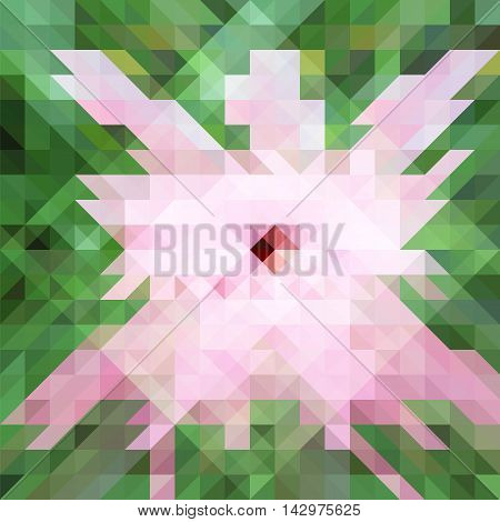 Abstract polygonal hibiscus flower vector illustration, pale gentle color, palette square backdrop image, pink and green geometric pattern, low poly texture with rectangle elements for web design