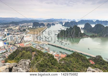 Halong Bay, Vietnam - February 24, 2016: Halong Bay And City As Seen From The Top Of Bai Tho Mountai