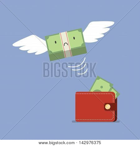 Unhappy money bill flying out of wallet. Business concept