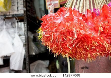Flower Market In Thailand, Red Ribbon Hanging At Ceiling