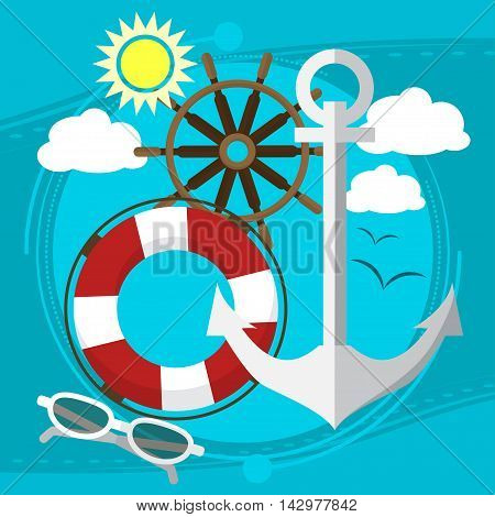 Sunny Weather At The Sea, Swim In The Boat With A Lifeline In Sunglasses.  Seagulls In The Backgroun