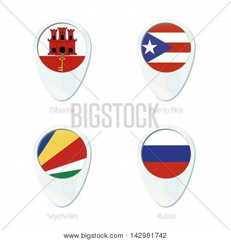 Gibraltar, Puerto Rico, Seychelles, Russia Flag Location Map Pin Icon.
