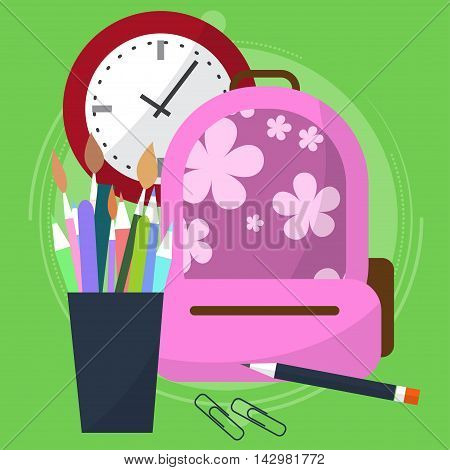School Bag With A Pencil Case In Which The Pens And Pencils. Watch That Show How Much Is Left Before