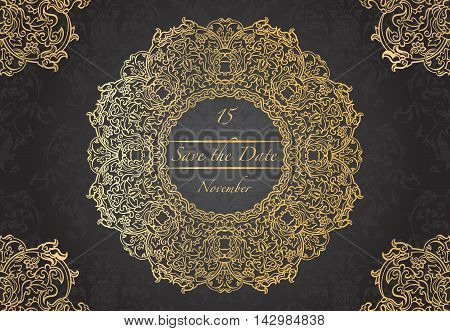 Card or wedding invitation with mandala pattern.Vector vintage hand-drawn highly detailed round mandala elements. Luxury lace festive ornament card. Islam Arabic Indian Turkish Ottoman motifs.
