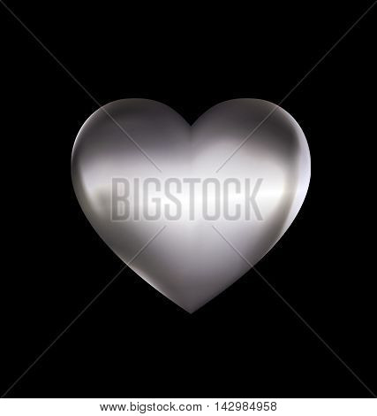 dark background and the light metal heart