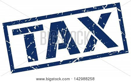 tax stamp. blue grunge square isolated sign