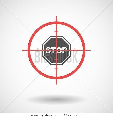 Isolated Line Art Crosshair Icon With  A Stop Signal