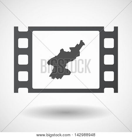 Isolated Celluloid Film Frame Icon With  The Map Of North Korea
