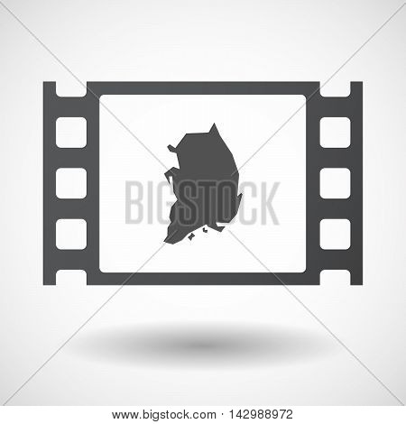 Isolated Celluloid Film Frame Icon With  The Map Of South Korea