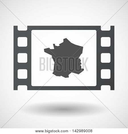 Isolated Celluloid Film Frame Icon With  The Map Of France