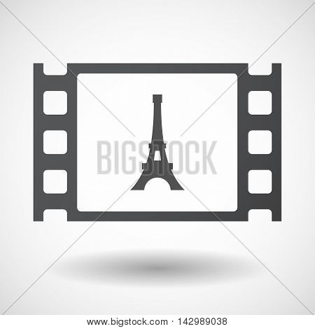 Isolated Celluloid Film Frame Icon With   The Eiffel Tower