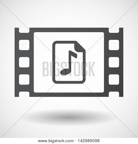 Isolated Celluloid Film Frame Icon With  A Music Score Icon