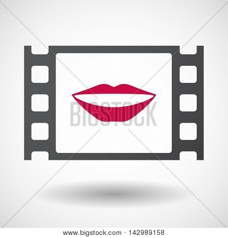 Isolated Celluloid Film Frame Icon With  A Female Mouth Smiling