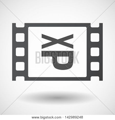 Isolated Celluloid Film Frame Icon With  A Tongue Sticking Text Face Emoticon