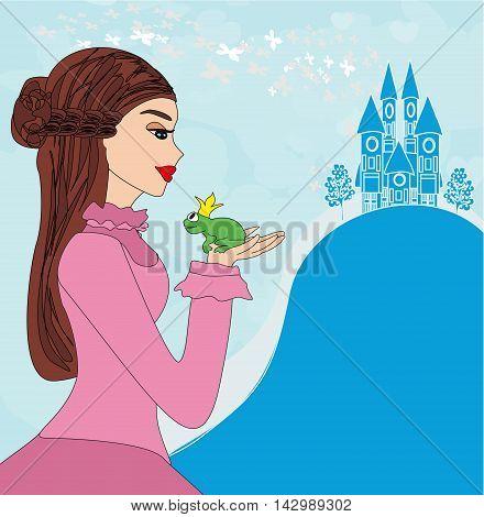 Beautiful young princess kissing a big frog , vector illustration