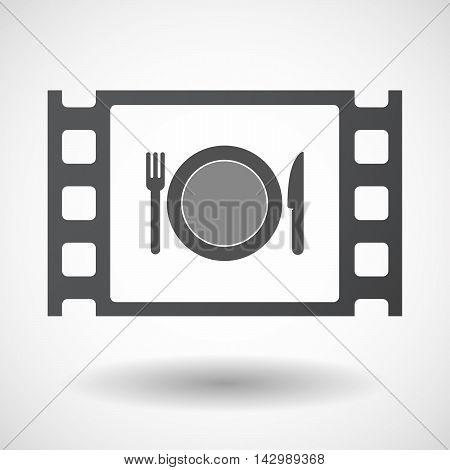 Isolated Celluloid Film Frame Icon With  A Dish, Knife And A Fork Icon