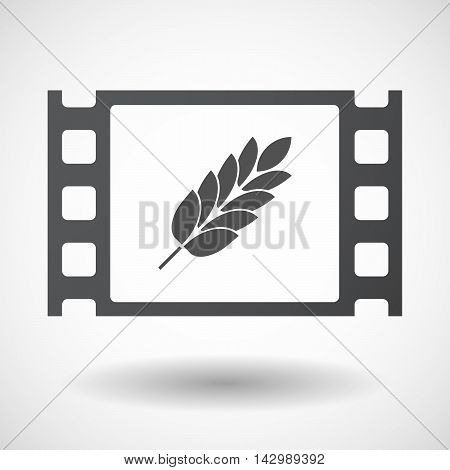 Isolated Celluloid Film Frame Icon With  A Wheat Plant Icon