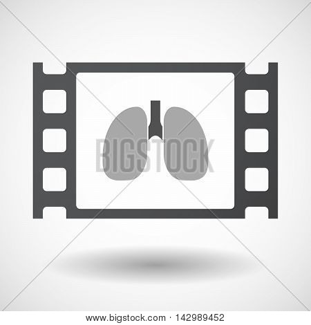 Isolated Celluloid Film Frame Icon With  A Healthy Human Lung Icon